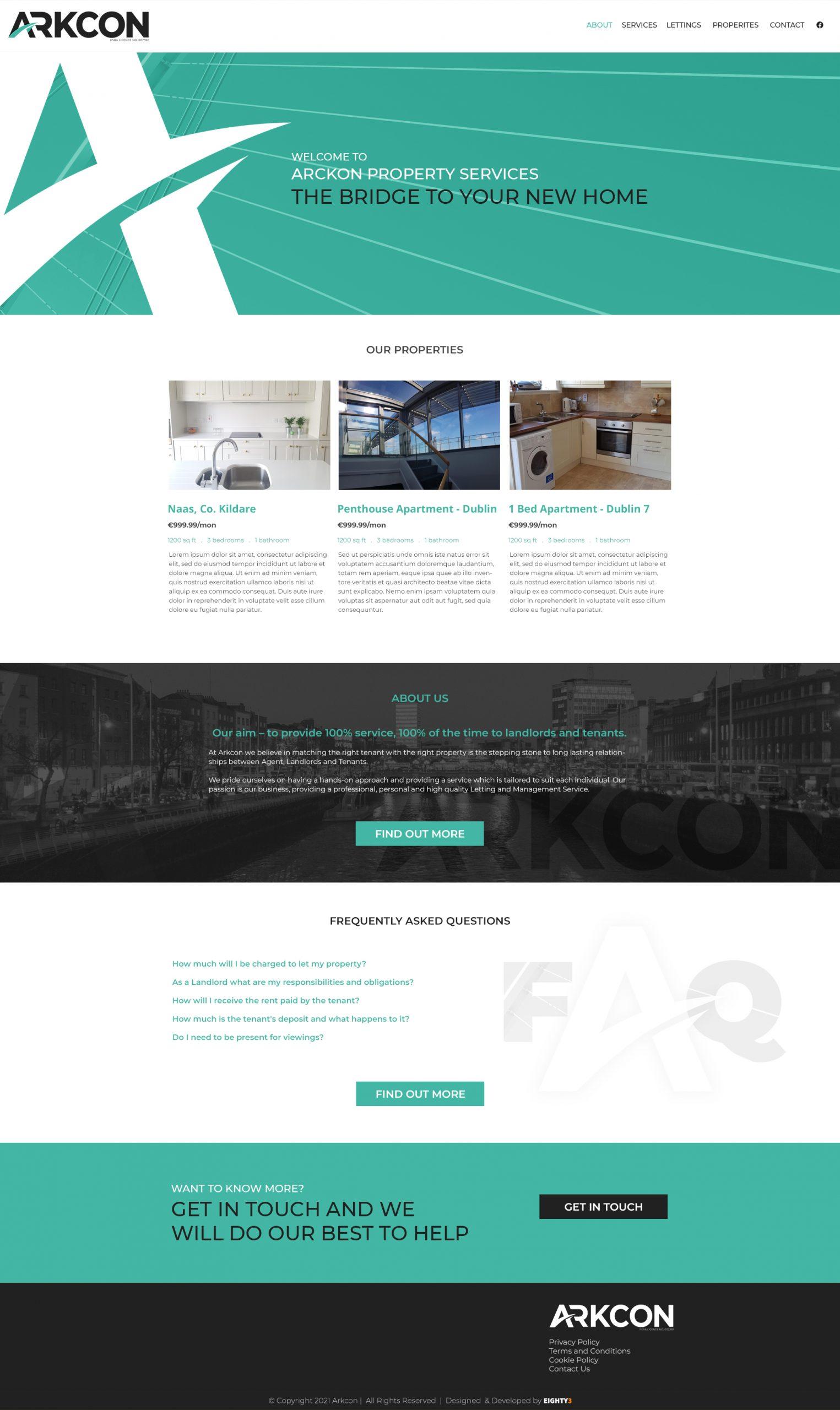 Arkcon Properties - Website design & Letman API integration