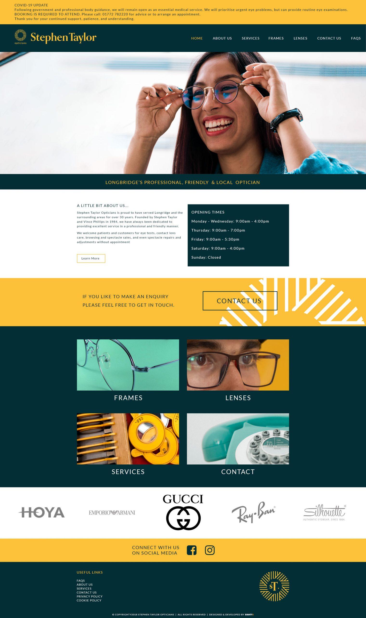 Stephen Taylor Opticians - Website Refresh