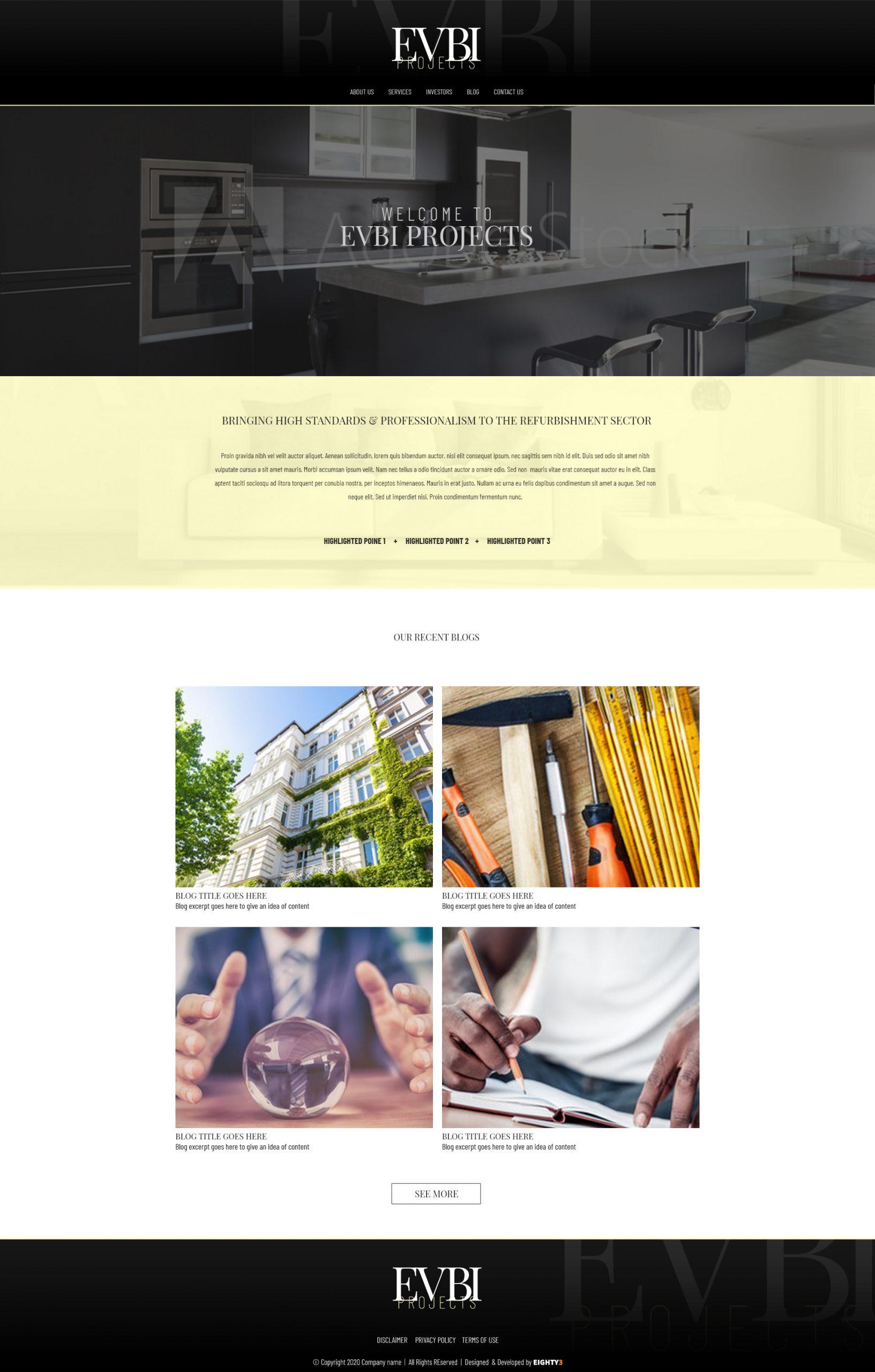 Evbi Projects - Custom Website Design with blog
