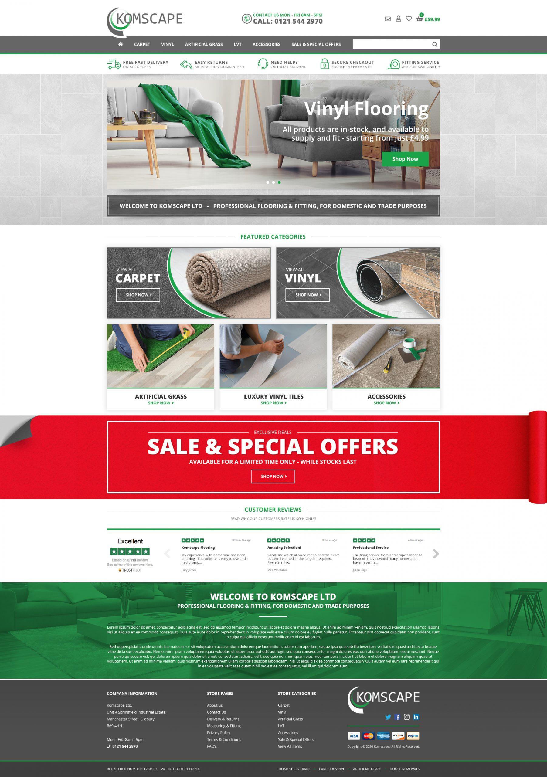 West Midlands based Komscape Flooring - Web Design and Woocommerce Installation including custom product calculators