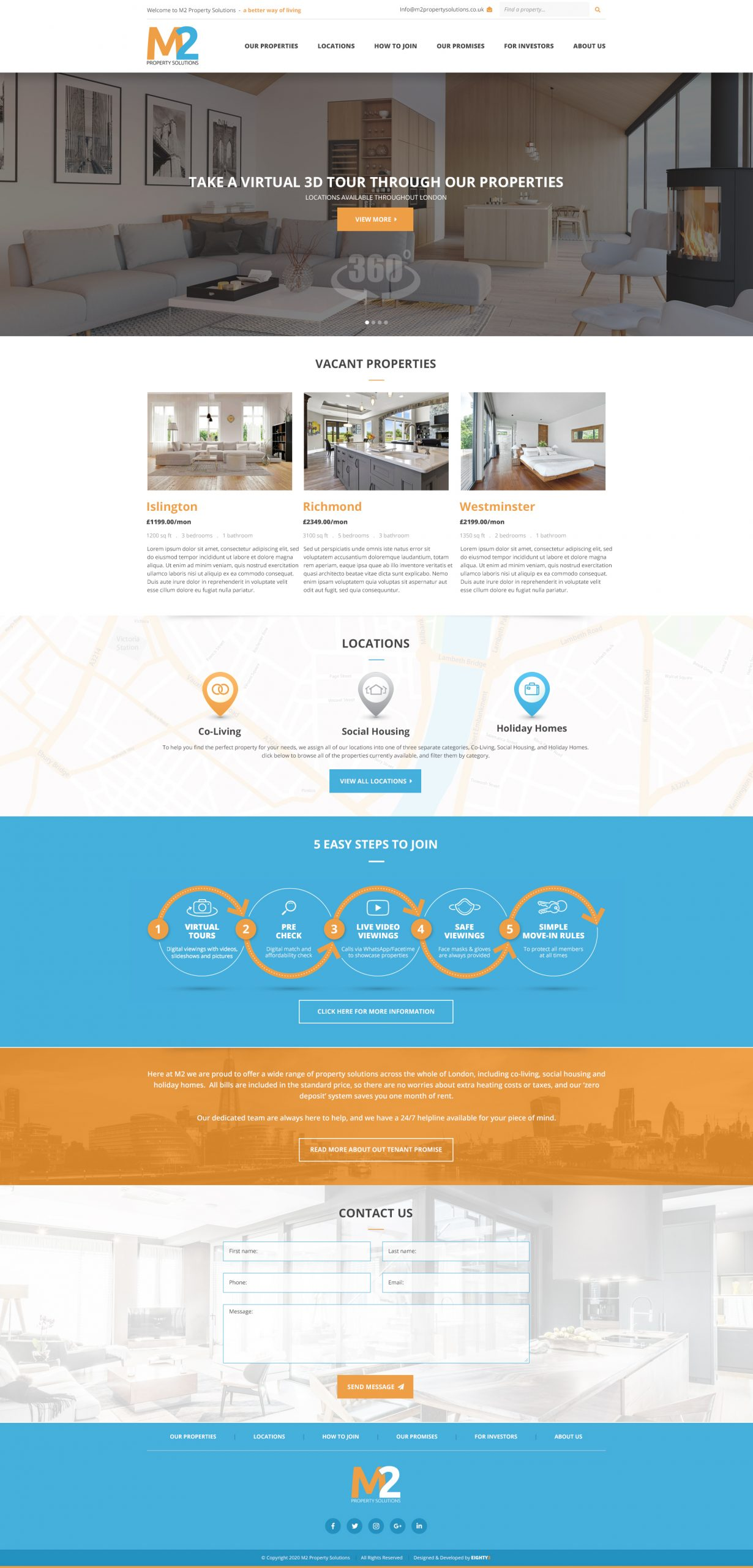 M2 Property Solutions - Web Design and Insightly Integration